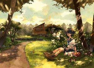 Rating: Safe Score: 61 Tags: all_male animal bird black_hair blue_eyes book boots building cat clouds flowers forest grass kyouichi male original scenic school_uniform shade sky tree User: STORM