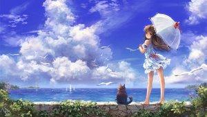 Rating: Safe Score: 140 Tags: animal barefoot bird boat brown_eyes brown_hair cat clouds dress long_hair miyai_haruki original ribbons signed sky umbrella water User: STORM