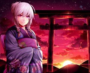 Rating: Safe Score: 38 Tags: braids clouds izayoi_sakuya japanese_clothes kimono pink_eyes sky stars sunset torii touhou twintails white_hair User: HawthorneKitty