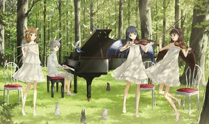 Rating: Safe Score: 62 Tags: animal animal_ears bird black_eyes black_hair brown_eyes brown_hair bunny_ears flute forest grass gray_hair group headband ink_(y3297528xx) instrument male original piano rabbit tree violin wings User: FormX