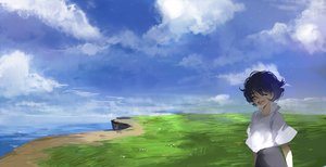 Rating: Safe Score: 31 Tags: all_male black_hair clouds grass kyouichi male original short_hair sky water User: STORM
