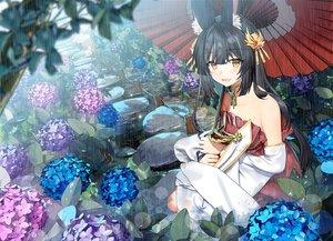 Rating: Safe Score: 60 Tags: animal_ears anthropomorphism azur_lane black_hair flowers foxgirl nagato_(azur_lane) rain sugita_ranpaku umbrella water User: BattlequeenYume