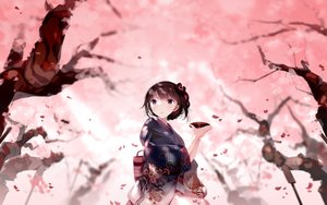 Rating: Safe Score: 43 Tags: atha braids brown_hair cherry_blossoms drink flowers japanese_clothes kimono original purple_eyes sake short_hair tree User: BattlequeenYume
