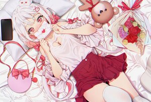 Rating: Safe Score: 75 Tags: agnamore bed blush bow breasts cleavage flowers gray_hair long_hair original paper phone red_eyes skirt teddy_bear thighhighs User: BattlequeenYume