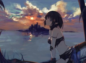 Rating: Safe Score: 71 Tags: 7ife arknights blue_eyes clouds dark eunectes_(arknights) pointed_ears sky sunset tail torn_clothes water User: BattlequeenYume