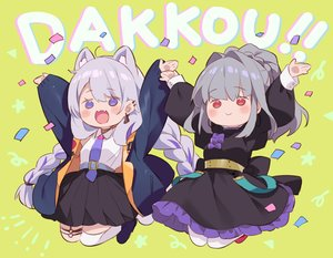 Rating: Safe Score: 35 Tags: 2girls animal_ears braids catgirl cat_smile dress fang garter gray_hair green kurokuma_(kuro_kumagaya) long_hair original pantyhose ponytail purple_eyes red_eyes skirt thighhighs tie twintails User: otaku_emmy