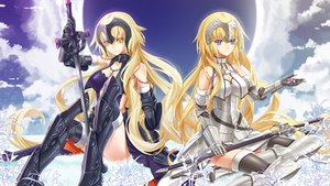 Rating: Safe Score: 71 Tags: armor blonde_hair blue_eyes cherry_blossoms clouds cross_akiha fate/grand_order fate_(series) flowers jeanne_d'arc_alter jeanne_d'arc_(fate) long_hair sky sword thighhighs weapon yellow_eyes User: BattlequeenYume