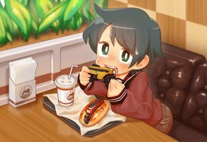 Rating: Safe Score: 8 Tags: anthropomorphism black_hair blush chaki_(teasets) drink food green_eyes kantai_collection mogami_(kancolle) seifuku short_hair User: otaku_emmy