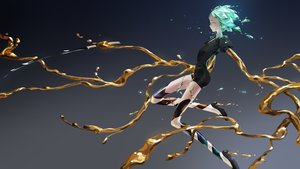 Rating: Safe Score: 35 Tags: anthropomorphism green_eyes green_hair houseki_no_kuni janemere phosphophyllite short_hair shorts sword thighhighs tie watermark weapon User: FormX