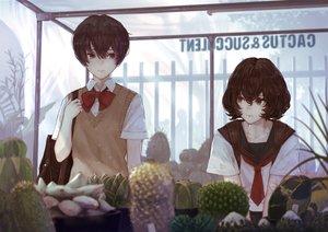 Rating: Safe Score: 23 Tags: 2girls bow brown_eyes brown_hair original school_uniform short_hair tie yasukura_(shibu11) User: otaku_emmy