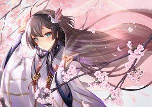 Rating: Safe Score: 40 Tags: black_hair cherry_blossoms green_eyes japanese_clothes kimono long_hair sirokurodai User: sadodere-chan