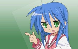 Rating: Safe Score: 3 Tags: blue_hair green green_eyes izumi_konata lucky_star school_uniform User: Oyashiro-sama