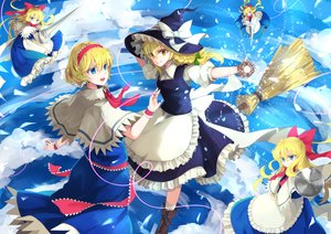 Rating: Safe Score: 18 Tags: alice_margatroid apron aqua_eyes blonde_hair boots bow braids doll dress furapechi hat headband kirisame_marisa kneehighs long_hair magic ribbons shanghai_doll short_hair touhou witch witch_hat wristwear yellow_eyes User: RyuZU