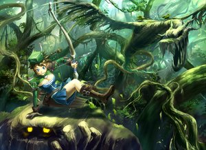 Rating: Safe Score: 131 Tags: blue_eyes boots bow bow_(weapon) braids breasts brown_hair cleavage dragon dress forest gloves hat iceojin landscape leaves original pixiv_fantasia pointed_ears ponytail scenic short_hair tree weapon wings User: w7382001
