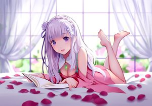 Rating: Safe Score: 236 Tags: barefoot bed blush book breasts cleavage dress emilia_(re:zero) petals purple_eyes re:zero_kara_hajimeru_isekai_seikatsu white_hair yin. User: RyuZU