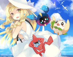 Rating: Safe Score: 37 Tags: animal bird blonde_hair blush braids clouds cosmog dress green_eyes hat lillie_(pokemon_sm) long_hair mikan_no_shiru pokemon rotom rowlet sky summer_dress wingull User: RyuZU