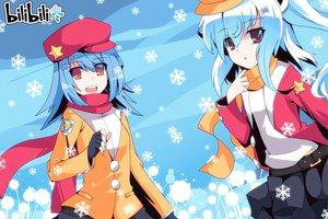 Rating: Safe Score: 39 Tags: auer bili_bili_douga bili_girl_22 bili_girl_33 blue_hair hat orange_eyes red_eyes scarf snow User: Wiresetc