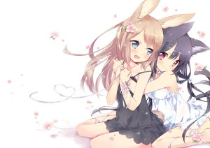 Rating: Safe Score: 98 Tags: 2girls animal_ears barefoot bell black_hair blonde_hair blue_eyes blush bunny_ears bunnygirl catgirl ech flowers hug long_hair original panties pink_eyes ribbons see_through tail underwear User: RyuZU