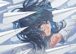 Rating: Safe Score: 42 Tags: aqua_eyes black_hair close minami_(minami373916) original paper short_hair User: RyuZU