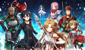 Rating: Safe Score: 37 Tags: andrew_gilbert_mills armor ayano_keiko black_eyes black_hair blush braids brown_eyes brown_hair dark_skin elbow_gloves gabiran gloves group kirigaya_kazuto long_hair male pink_eyes pink_hair shinozaki_rika short_hair skirt sword sword_art_online thighhighs tsuboi_ryoutarou weapon yui_(sword_art_online) yuuki_asuna User: RyuZU