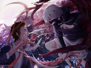 Rating: Safe Score: 102 Tags: all_male building city crossover izumi_shinichi kaneki_ken kiseijuu lew_wj male tokyo_ghoul User: Flandre93
