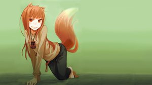 Rating: Safe Score: 166 Tags: animal_ears ayakura_juu barefoot green horo long_hair ookami_to_koushinryou orange_hair red_eyes tail wolfgirl User: grudzioh