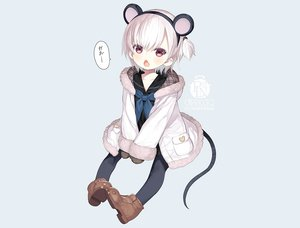 Rating: Safe Score: 59 Tags: animal_ears blue boots capriccio fang headband hoodie loli mousegirl original pantyhose pink_eyes ponytail school_uniform short_hair tail watermark white_hair User: otaku_emmy