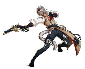 Rating: Safe Score: 13 Tags: all_male animal_ears domco final_fantasy final_fantasy_xiv gun male miqo'te tail weapon white User: RyuZU