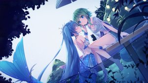 Rating: Safe Score: 66 Tags: 2girls barefoot blue_hair breasts cleavage green_hair gumi hatsune_miku long_hair mermaid navel sakakidani short_hair shorts shoujo_ai twintails vocaloid water User: BattlequeenYume