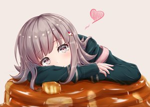 Rating: Safe Score: 54 Tags: cake dangan-ronpa dangan-ronpa_2 food gray_hair heart long_hair nanami_chiaki pink_eyes y3010607 User: otaku_emmy