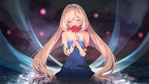 Rating: Safe Score: 56 Tags: aise_yuria blonde_hair blush braids dress flowers headband iriam itsutsuse long_hair water User: BattlequeenYume