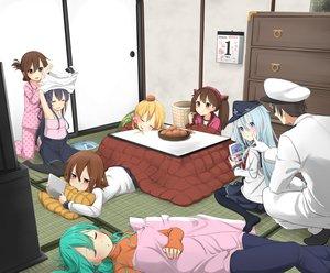 Rating: Safe Score: 110 Tags: admiral_(kancolle) akatsuki_(kancolle) aqua_hair blonde_hair blush brown_hair food game_console group hat hibiki_(kancolle) ikazuchi_(kancolle) inazuma_(kancolle) kantai_collection kotatsu long_hair male max_melon_teitoku pantyhose prinz_eugen_(kancolle) ryuujou_(kancolle) seifuku skirt sleeping suzuya_(kancolle) twintails undressing uniform User: Flandre93