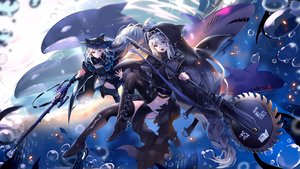 Rating: Safe Score: 67 Tags: 2girls animal arknights bubbles gloves gray_hair gun long_hair nun red_eyes skadi_(arknights) specter_(arknights) tentacles thighhighs underwater usagihime water weapon User: RyuZU