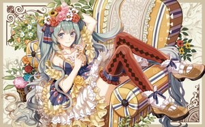 Rating: Safe Score: 124 Tags: aqua_hair dress flowers hatsune_miku headdress long_hair michi_(iawei) ribbons thighhighs twintails vocaloid User: Flandre93