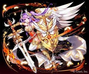 Rating: Safe Score: 36 Tags: applecaramel_(acaramel) armor breasts cleavage dress feathers fire gradient kurokishi_to_shiro_no_maou long_hair magic purple_eyes purple_hair sword twintails weapon wings User: otaku_emmy