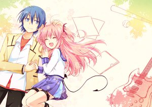 Rating: Safe Score: 105 Tags: angel_beats! blue_hair guitar hinata_hideki instrument kousetsu pink_hair school_uniform tail yui_(angel_beats!) User: HawthorneKitty