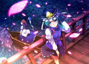 Rating: Safe Score: 79 Tags: blue_hair hat onozuka_komachi petals red_hair ryosios scythe shikieiki_yamaxanadu touhou water weapon User: HawthorneKitty