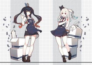 Rating: Safe Score: 44 Tags: 2girls animal apron bird black_hair brown_eyes cat long_hair original ponytail rain_lan red_eyes shorts skirt tie twintails white_hair User: RyuZU
