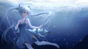 Rating: Safe Score: 42 Tags: barefoot dress hatsune_miku long_hair polychromatic rika_(mikunopantsu) twintails underwater vocaloid water User: BattlequeenYume