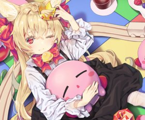 Rating: Safe Score: 21 Tags: agnamore animal_ears apple bell blonde_hair blush bow cropped crown dress drink food fruit kirby_(character) loli long_hair original red_eyes shirt thighhighs wink User: otaku_emmy