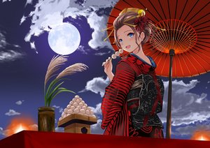 Rating: Safe Score: 32 Tags: blue_eyes blush brown_hair clouds food gibun_(sozoshu) japanese_clothes kimono moon original short_hair sky umbrella User: BattlequeenYume