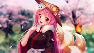Rating: Safe Score: 36 Tags: animal blush cherry_blossoms fang fire flowers fox foxgirl hat hyanna-natsu japanese_clothes long_hair multiple_tails original pink_eyes pink_hair spring tail watermark User: otaku_emmy