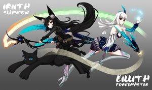 Rating: Safe Score: 111 Tags: 2girls animal animal_ears armor black_hair blade_&_soul blue_eyes cat cross_akiha elbow_gloves feathers gloves gray long_hair magic red_eyes staff tail thighhighs white_hair User: STORM