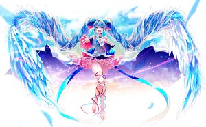 Rating: Safe Score: 32 Tags: blue_eyes blue_hair dress hatsune_miku heart long_hair ribbons shirayuki_towa twintails vocaloid wings User: FormX