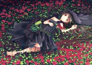 Rating: Safe Score: 95 Tags: barefoot bicolored_eyes black_hair dress flowers long_hair makadamixa original rose User: RyuZU