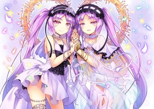 Rating: Safe Score: 78 Tags: 2girls blush collar dress euryale fate/grand_order fate_(series) headdress kasaran_(e_kisama) long_hair panties petals pink_hair see_through stheno twins twintails underwear wristwear User: RyuZU