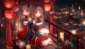 Rating: Safe Score: 82 Tags: 2girls animal bow braids brown_hair building city dohj001 dress flowers long_hair original red_eyes thighhighs twins User: luckyluna
