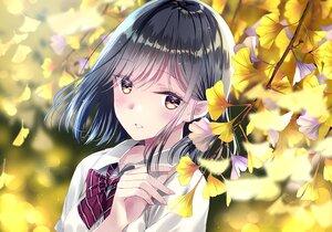 Rating: Safe Score: 54 Tags: autumn black_hair bow brown_eyes close kobayashi_chisato leaves original school_uniform User: BattlequeenYume