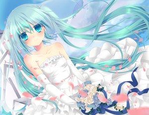 Rating: Safe Score: 88 Tags: aqua_eyes aqua_hair elbow_gloves etou_(cherry7) flowers gloves hatsune_miku long_hair twintails vocaloid wedding_attire User: HawthorneKitty