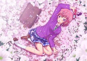 Rating: Safe Score: 28 Tags: blush cherry_blossoms flowers kneehighs original petals phone pink_hair purple_eyes school_uniform short_hair skirt tie User: Tensa